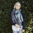 Ladies' Grey and Green Floral Reversible Wrap Scarf