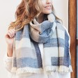 Lisa Angel Ladies' Denim Blue Tartan Wrap Scarf