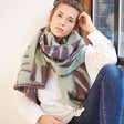 Lisa Angel Grey and Green Reversible Botanical Wrap Scarf