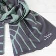 Ladies' Personalised Grey and Green Reversible Botanical Wrap Scarf