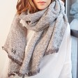Lisa Angel Personalised Ladies' Grey Herringbone Weave Wrap Scarf