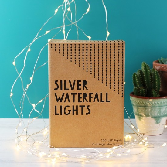 Mains Powered Silver Wire Waterfall String Lights - UK plug