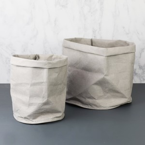 Grey Round Medium Storage Bag