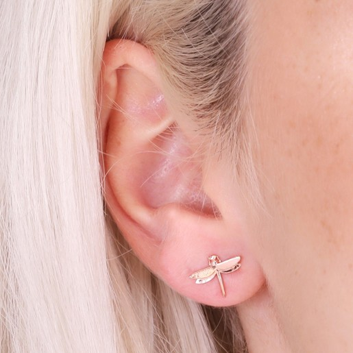 72af33bb8 Tiny Dragonfly Stud Earrings in Rose Gold | Jewellery | Lisa Angel