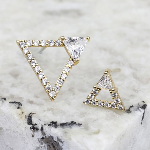 9c45e5b5460 Mismatched Diamante Triangle Stud Earrings