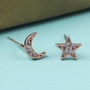 CZ Stone Moon and Star Rose Gold Earrings
