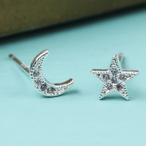 CZ Stone Moon and Star Silver Earrings