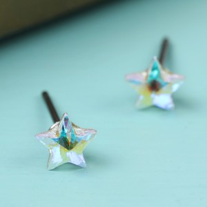 Crystal small white star stud earrings