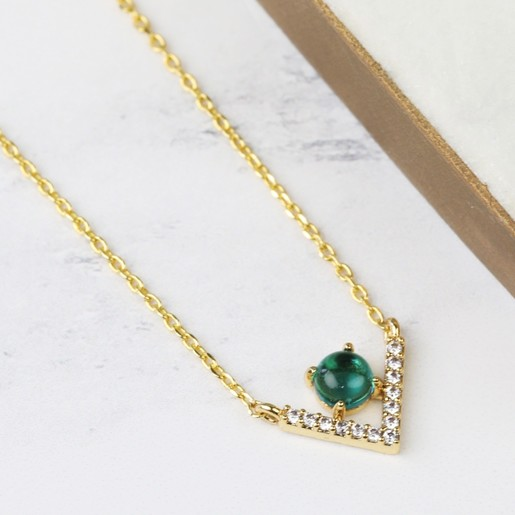 Gold diamante chevron pendant necklace lisa angel jewellery diamante chevron pendant necklace in green and gold aloadofball Images
