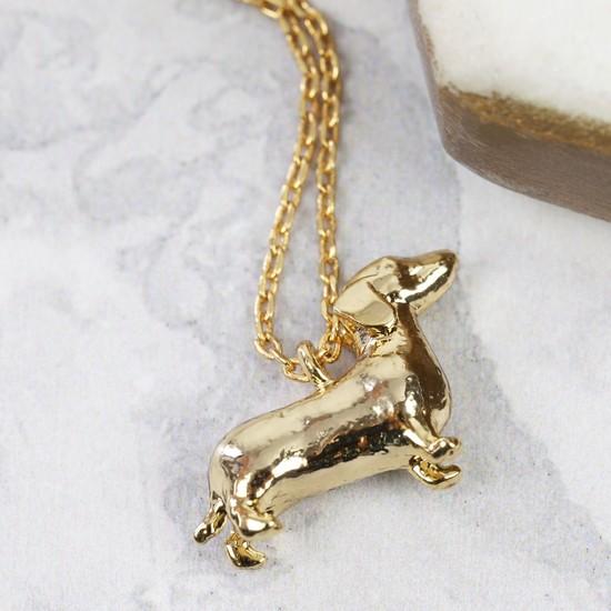 Gold Sausage Dog Necklace