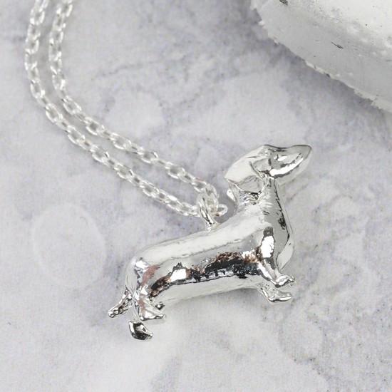 Silver Sausage Dog Necklace