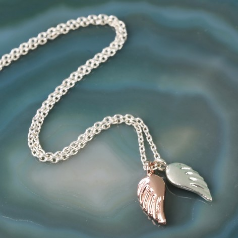 Mixed metal angel wings necklace lisa angel jewellery silver and rose gold angel wings necklace aloadofball Choice Image