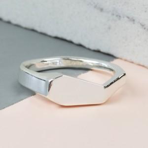 Silver Geometric Ring - M/L