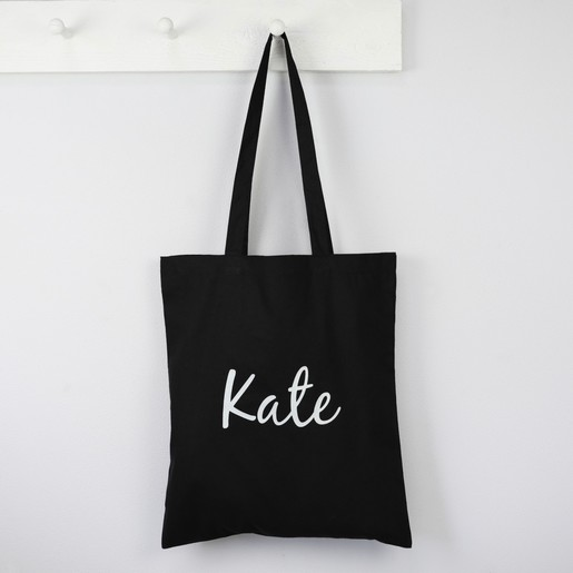 222d19337b72 Lisa Angel Ladies  Personalised Name Cotton Tote Bag in Black