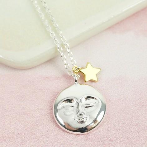 Estella bartlett mixed metal moon and star necklace lisa angel estella bartlett mixed metal moon and star necklace aloadofball Images