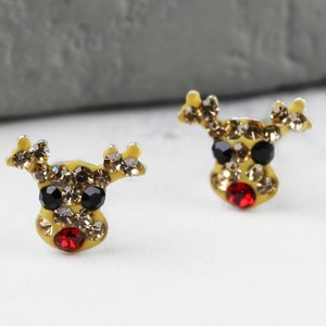 Sterling Silver Diamante Rudolf Christmas Earrings