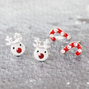 Set of 2 Reindeer and Candy Cane Diamante Stud Earrings