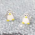 Lisa Angel Sterling Silver and Enamel Penguin Stud Earrings