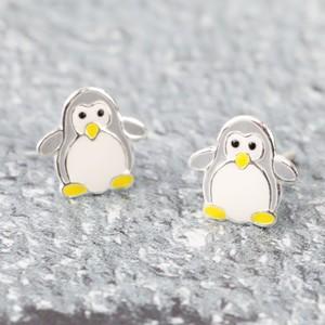 Sterling Silver Enamel Penguin Stud Earrings
