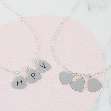 Sterling silver triple heart charm necklace lisa angel sterling silver triple heart charm necklace aloadofball Images