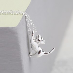 Delicate Sterling Silver Cat Necklace