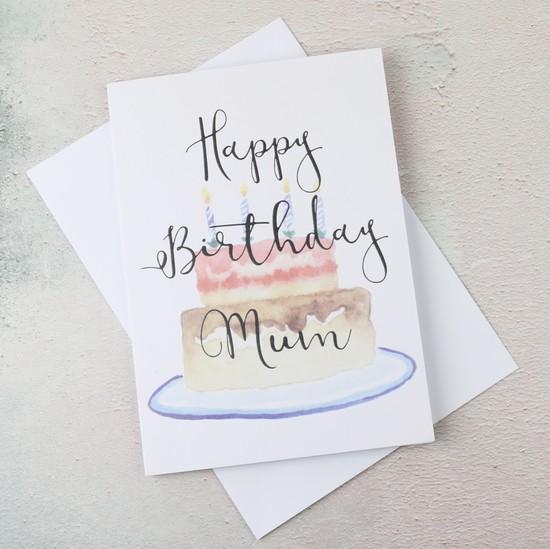 'Happy Birthday Mum' Birthday Cake Greetings Card