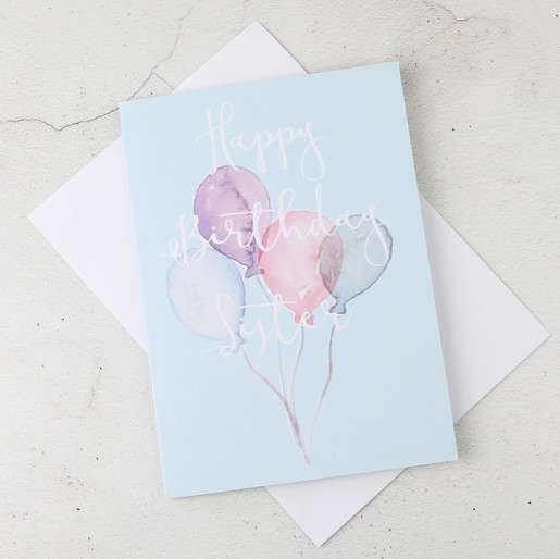 Happy birthday sister greetings card stationery lisa angel happy birthday sister birthday balloons greetings card m4hsunfo