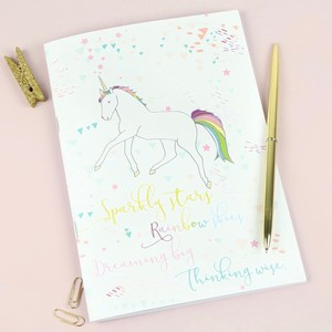 'Rainbow Skies' Unicorn A5 Notebook