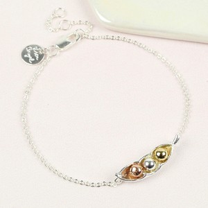Silver Three Peas In a Pod Bracelet
