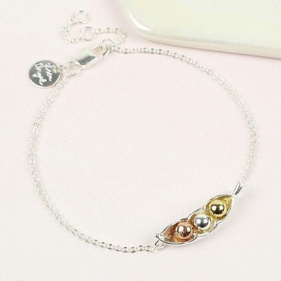 Silver Three Peas In a Pod Bracelet