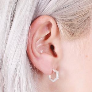 Small Silver Hexagonal Hoop Earrings