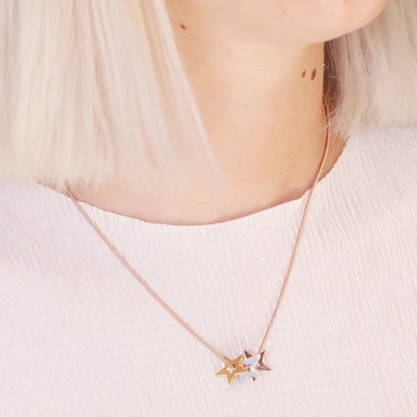 Mixed metal triple star pendant necklace lisa angel jewellery mixed metal triple star snake chain necklace in rose gold mozeypictures Image collections