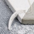 Ladies' Personalised Brushed Crescent Moon Necklace in Silver