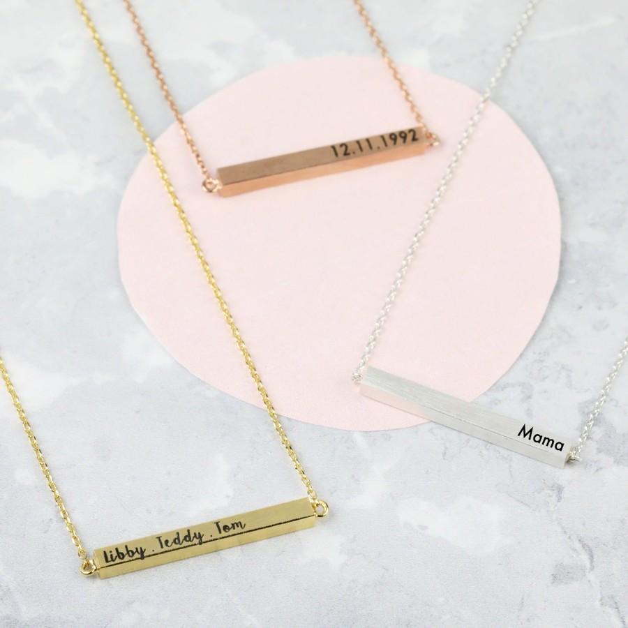 solid necklace personalised bar gold horizontal