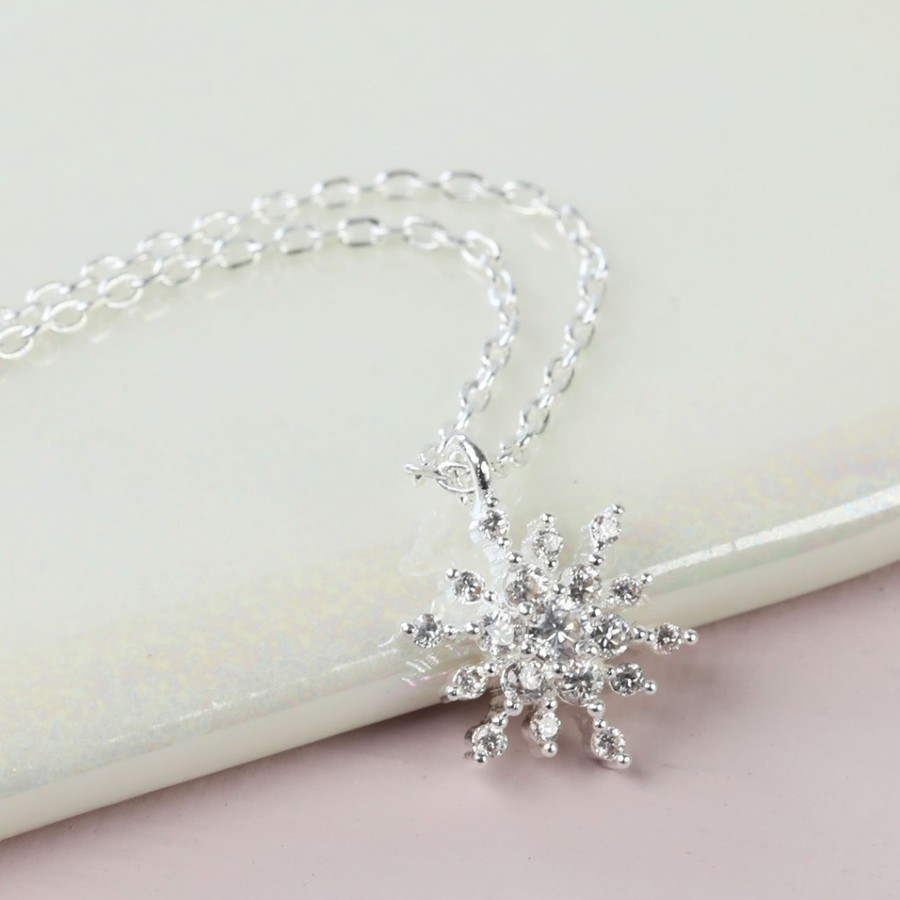 six azendi silver pendant point jewellery snowflake