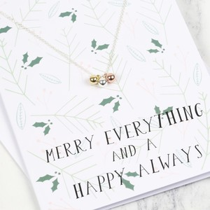 Mixed Metal Christmas Baubles Necklace and Greetings Card