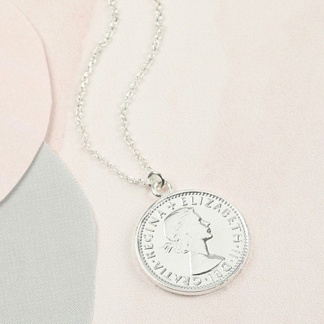 Long silver sixpence pendant necklace jewellery lisa angel long silver sixpence pendant necklace aloadofball Choice Image