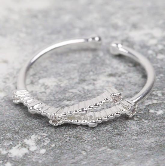 Adjustable Sterling Silver Constellation Ring - Cancer