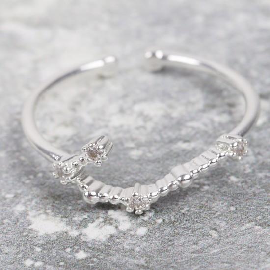 Adjustable Sterling Silver Constellation Ring - Gemini