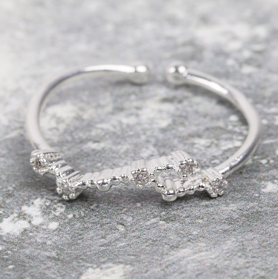 Adjustable Sterling Silver Constellation Ring - Leo