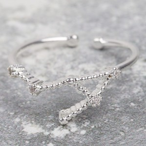 Adjustable Sterling Silver Constellation Ring - Libra
