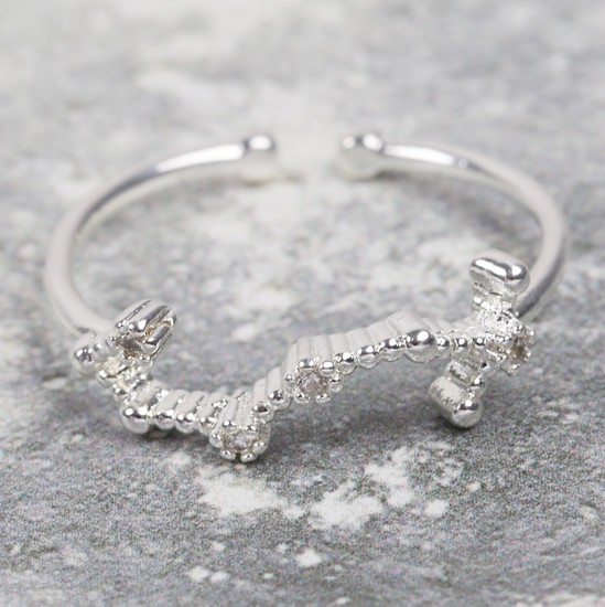 Adjustable Sterling Silver Constellation Ring - Scorpio