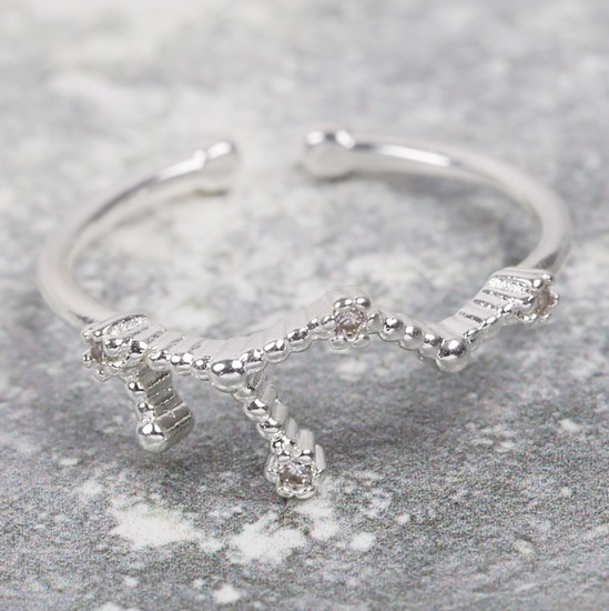 Adjustable Sterling Silver Constellation Ring - Virgo