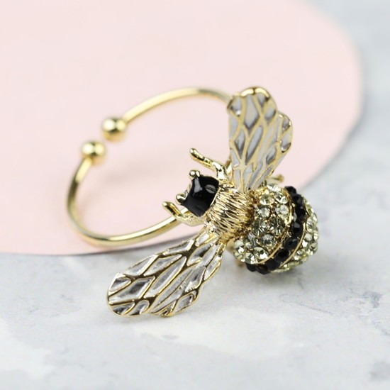 Adjustable Crystal Bee Ring in Gold