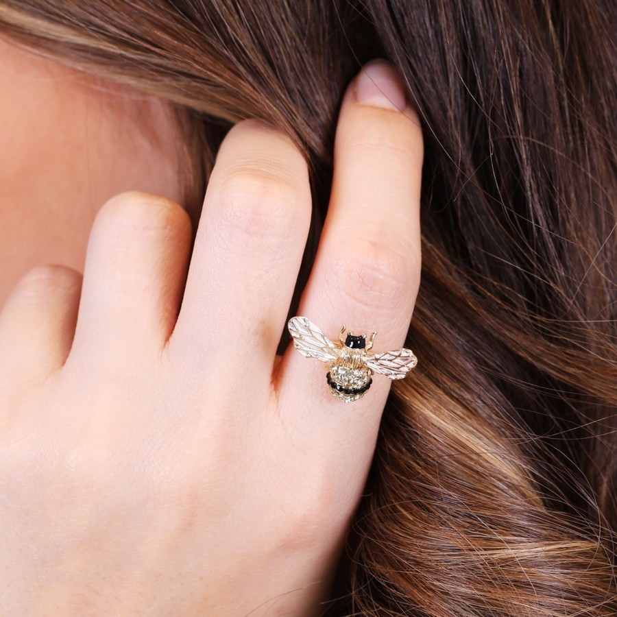 Adjustable Bumblebee Ring in Gold   Lisa Angel Jewellery