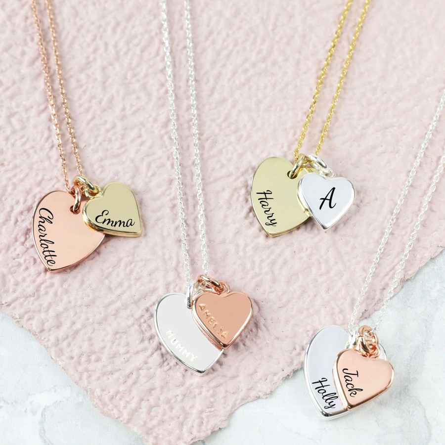 style heart hearts double engravable pendant tiffany necklace