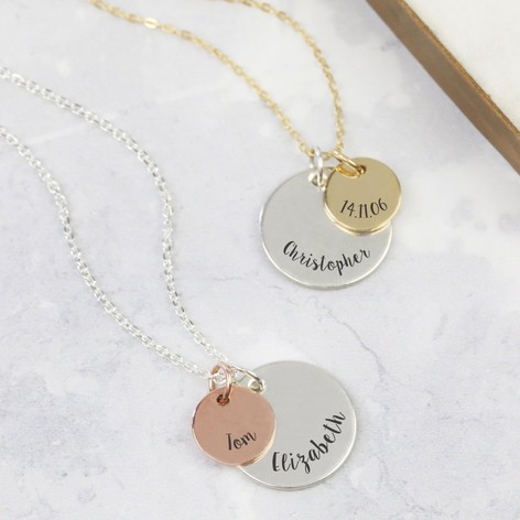 f0cd446ef0356f Engraved 9ct Gold and Sterling Silver Disc Necklace | Lisa Angel