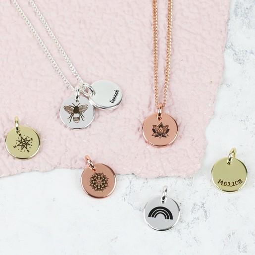 3dd0016b9c Ladies' Engraved Symbol Small Disc Charm Necklace | Lisa Angel