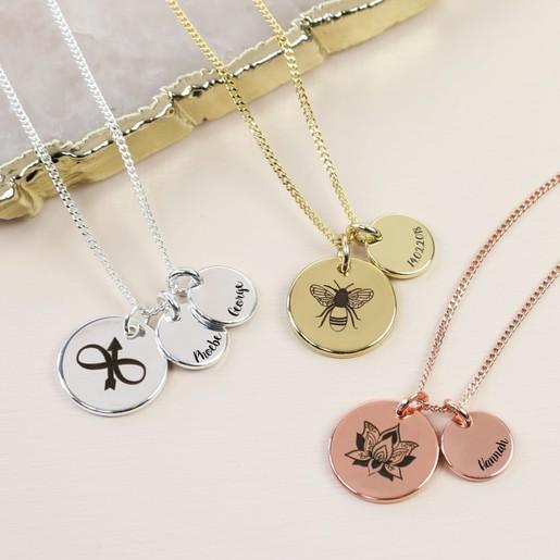 de2ad491c2 Delicate Engraved Symbol Disc Charm Necklace | Lisa Angel