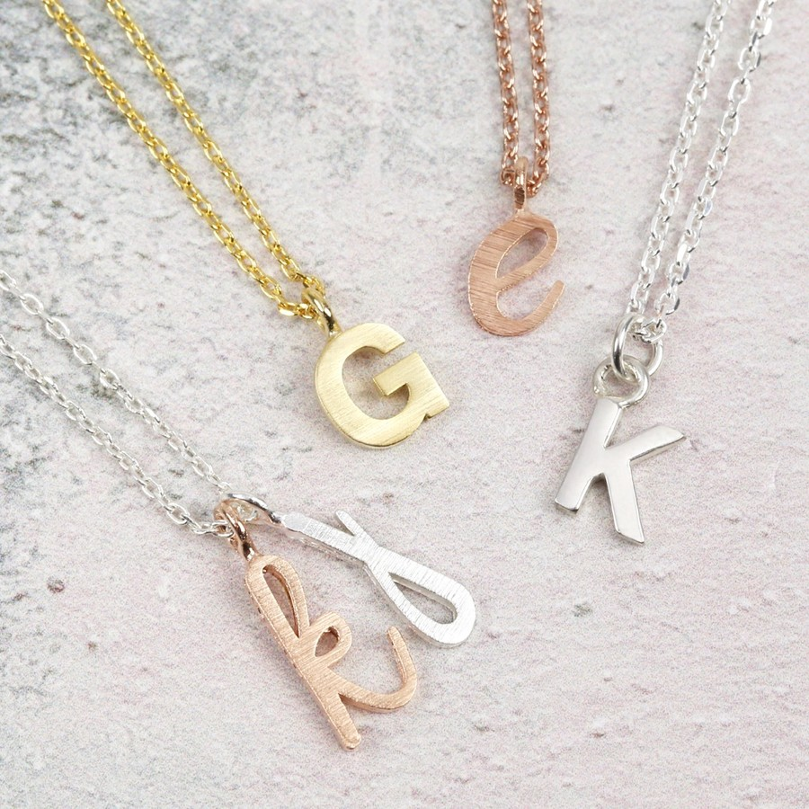 gold personalized olizz pendant necklace initial